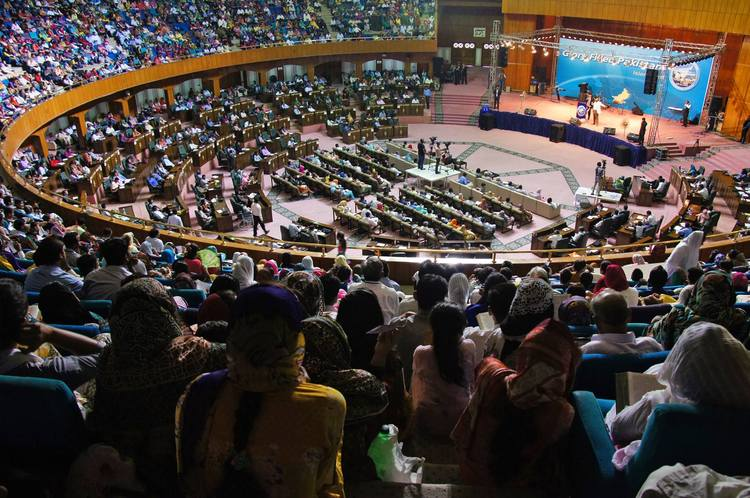 Overcrowded arena of Jinnah Convention Center in Islamabad