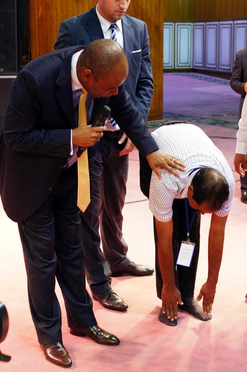This man could not bend because of the spine problem. God healed him!