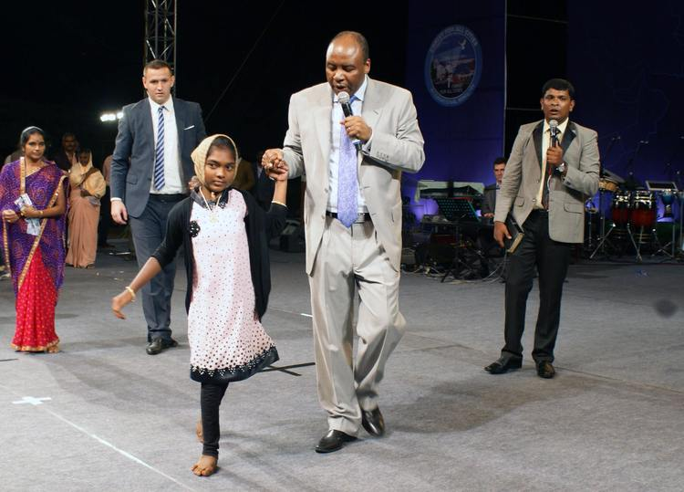This girl is 14 years old and she couldn't walk from birth. During the prayer God healed her and she is free to walk now!