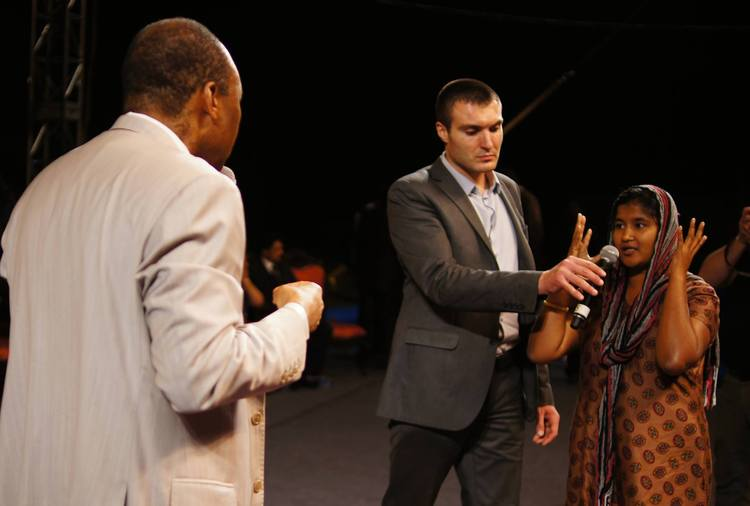 She was suffering from a migraine for 5 years. During the prayer, the pain has gone! God healed her!