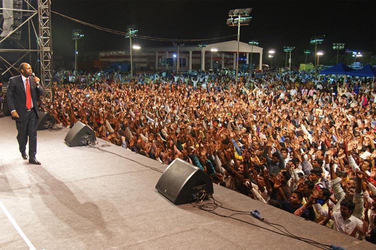 Завершающий день Фестиваля Иисуса в Бангалоре, Индии.