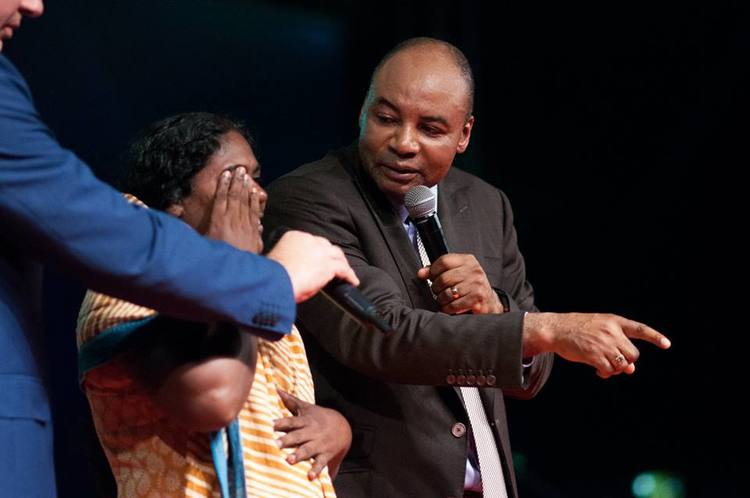 This woman had a heart condition for 23 years, she also could not see with her right eye. She received healing during the prayer