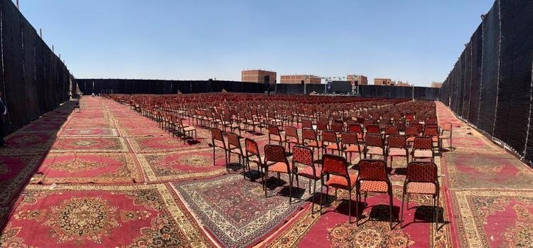 Large grounds were cleaned and covered with carpets before the evening service of the Jesus Festival.